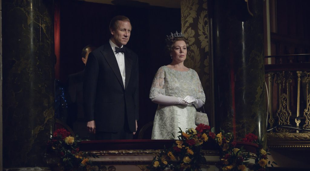 Prince Philip (TOBIAS MENZIES) and Queen Elizabth II (OLIVIA COLMAN). Photo by Alex Bailey.