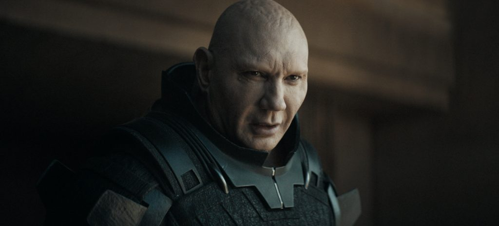"Caption: DAVE BAUTISTA as Rabban Harkonnen in Warner Bros. Pictures' and Legendary Pictures' action adventure ""DUNE,"" a Warner Bros. Pictures and Legendary release. Photo Credit: Courtesy of Warner Bros. Pictures and Legendary Pictures"