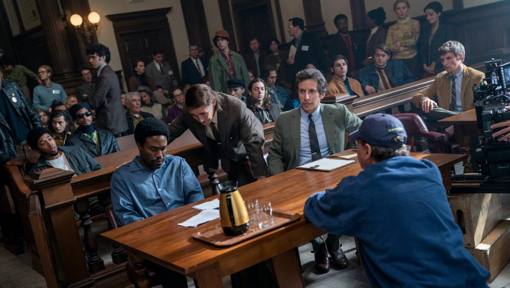 The Trial of the Chicago 7. Kelvin Harrison Jr as Fred Hampton, Yahya Abdul-Mateen II as Bobby Seale, Mark Rylance as William Kunstler, Aaron Sorkin as Writer / Director, Eddie Redmayne as Tom Hayden in The Trial of the Chicago 7. Cr. Niko Tavernise/NETFLIX © 2020
