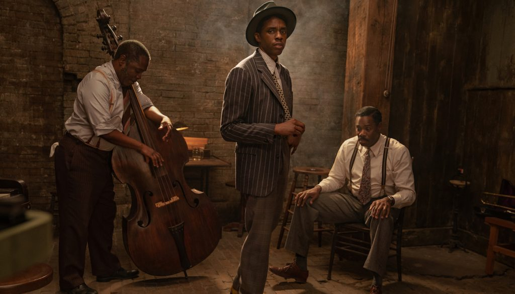 L-r: Michael Potts, Chadwick Boseman, and Colman Domingo. Courtesy Netflix.