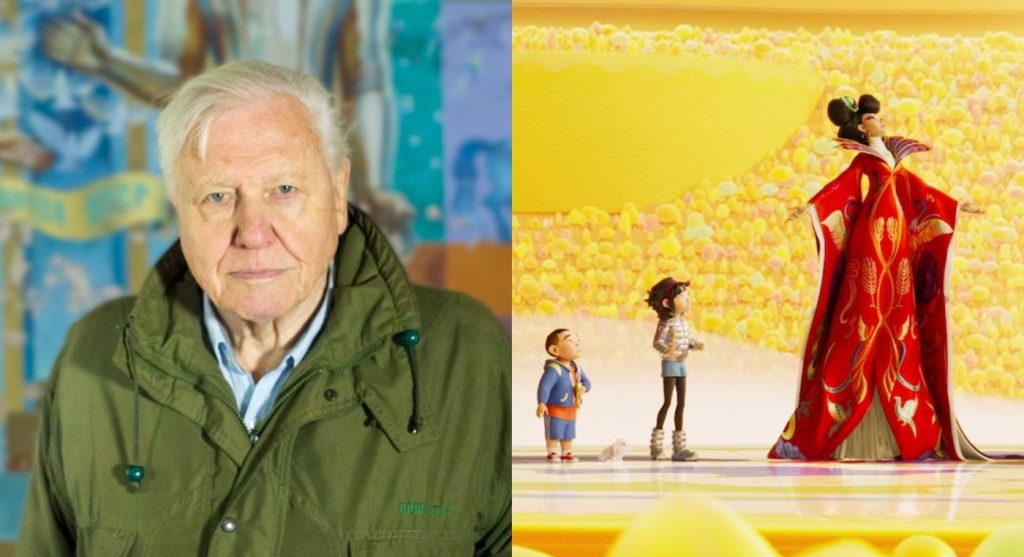L-r: David Attenborough: A Life on Our Planet, photo courtesy Moving Picture hire LTD/Netflix. OVER THE MOON - (L-R)