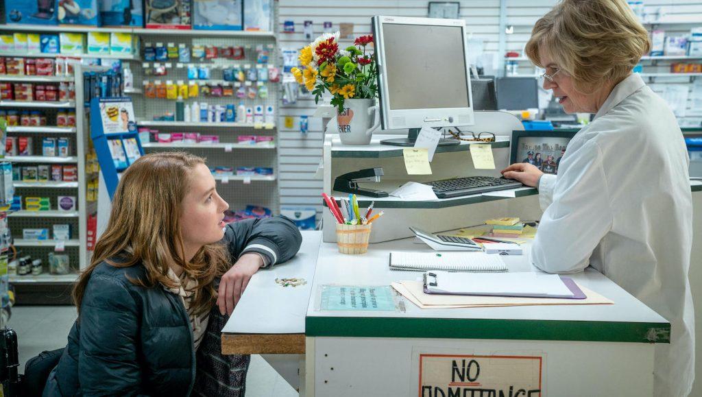 Chloe (Kiera Allen) and Pharmacist (Sharon Bajer), shown. (Photo by: Allen Fraser/Hulu)