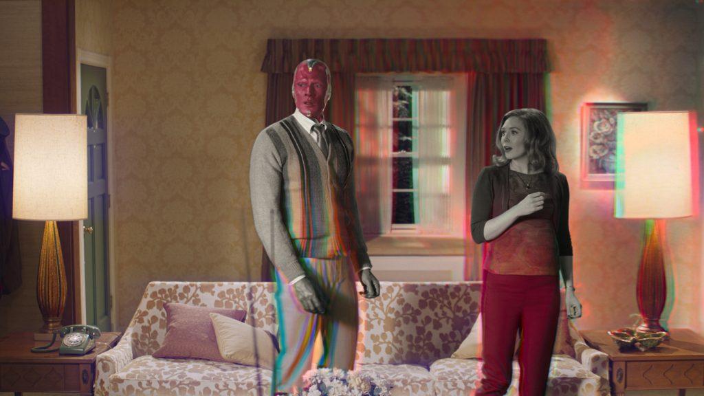Paul Bettany and Elizabeth Olsen in 'WandaVision.' Courtesy Disney+