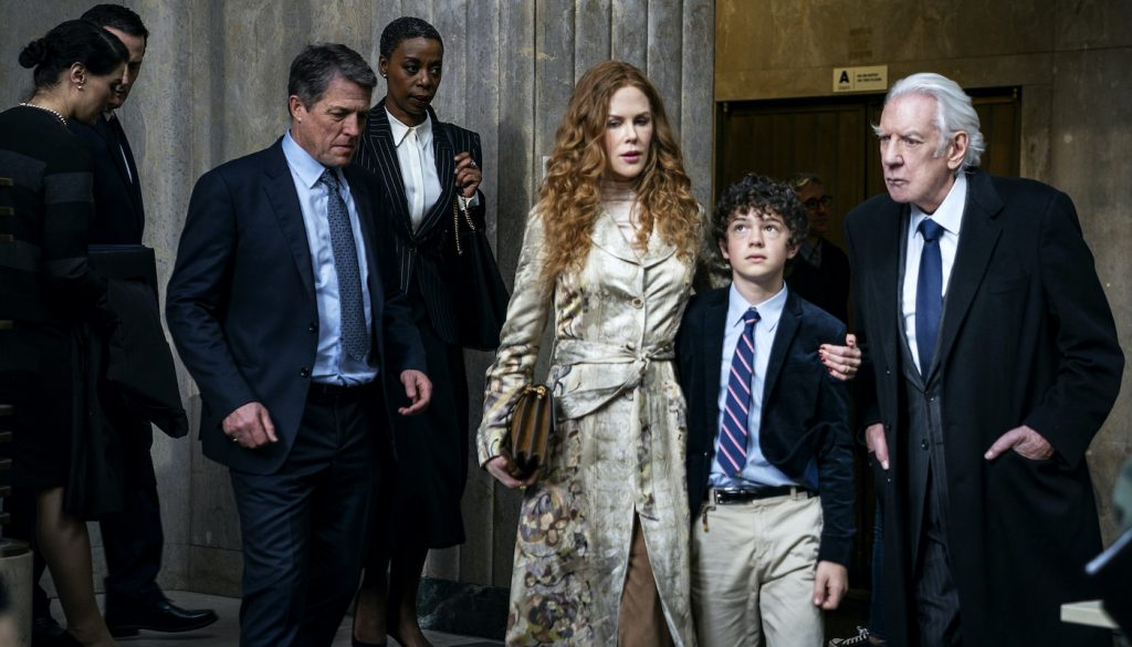 Hugh Grant, Noma Dumezweni, Nicole Kidman, Noah Jupe, Donald Sutherland. Photograph by Niko Tavernise/HBO