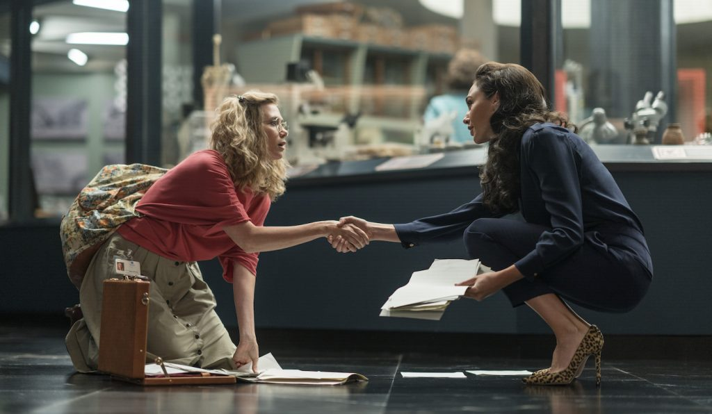 "Caption: (L-r) KRISTEN WIIG as Barbara Minerva and GAL GADOT as Diana Prince in Warner Bros. Pictures' action adventure ""WONDER WOMAN 1984,"" a Warner Bros. Pictures release. Photo Credit: Clay Enos/ ™ & © DC Comics"
