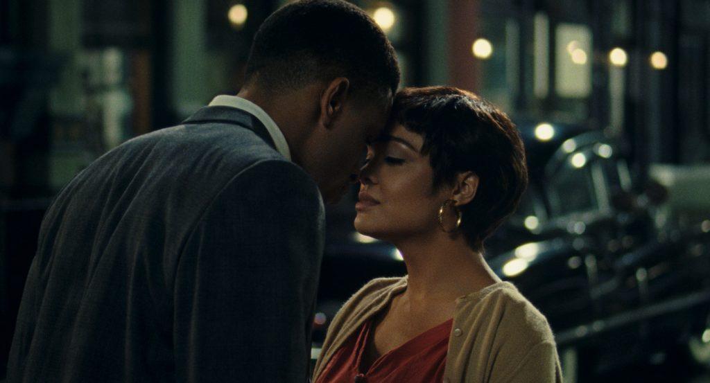 NNAMDI ASOMUGHA as ROBERT HALLOWAY and TESSA THOMPSON as SYLVIE PARKER in SLYVIE'S LOVE. Courtesy of Amazon Studios
