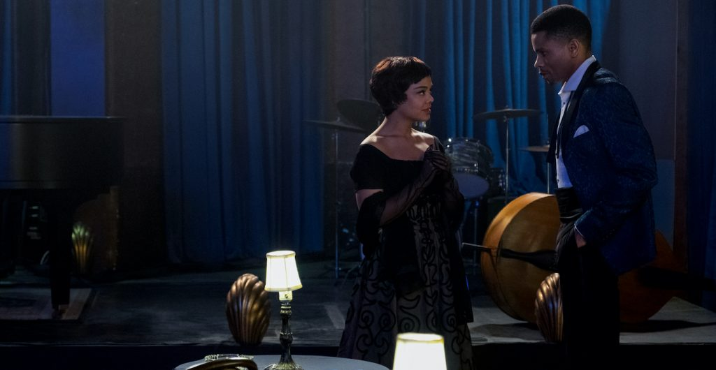 TESSA THOMPSON as SYLVIE PARKER and NNAMDI ASOMUGHA as ROBERT HALLOWAY in SLYVIE'S LOVE. Courtesy of Amazon Studios