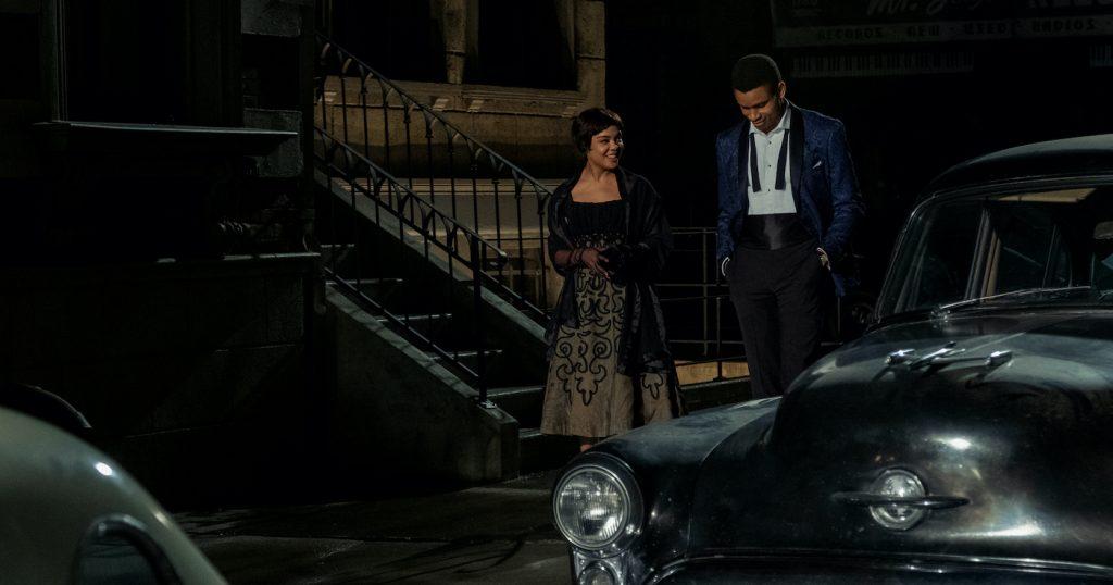 TESSA THOMPSON as SYLVIE PARKER and NNAMDI ASOMUGHA as ROBERT HALLOWAY in SLYVIE'S LOVE. Photo credit: Nicola Goode