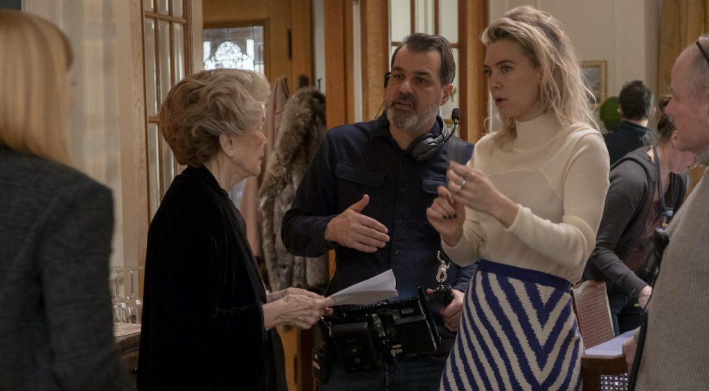 PIECES OF A WOMAN: (L to R) Ellen Burstyn as Elizabeth, Director Kornél Mundruczó, and Vanessa Kirby as Martha. Photo: Philippe Bosse / Netflix