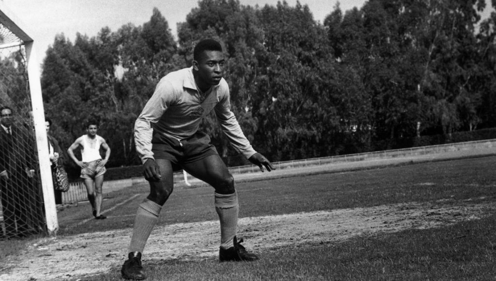 24th April 1963:  Brazilian World Cup star Pele, said by many to be the greatest footballer of all time, during a training session.  (Photo by Express/Express/Getty Images)