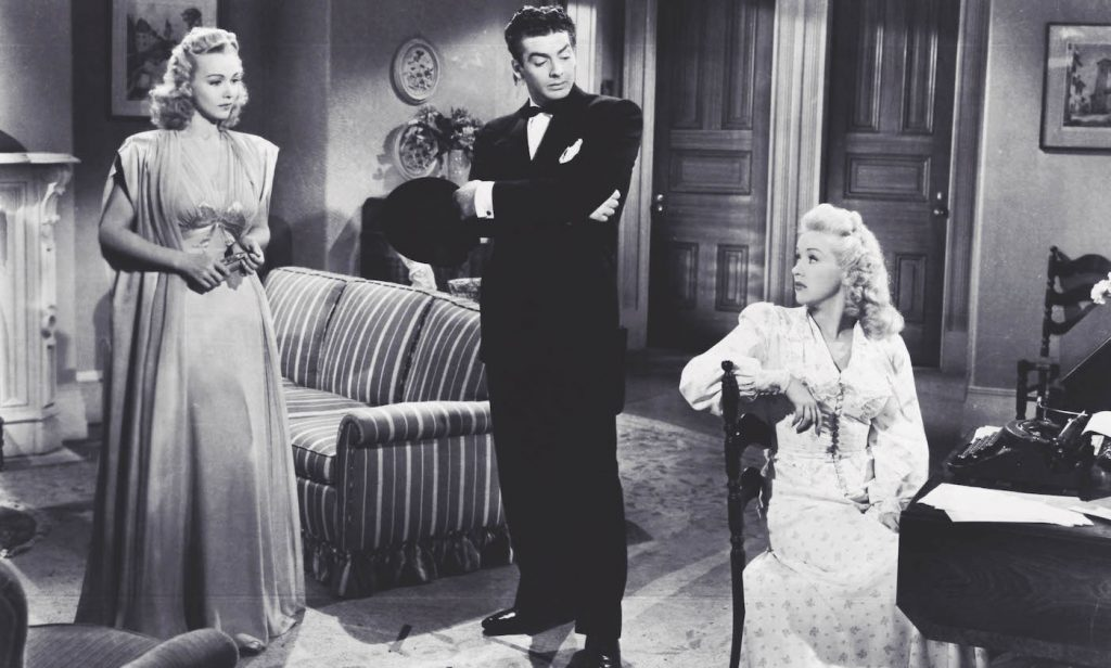 "L-r: Carol Landis, Victor Mature, and Betty Grable in ""I Wake Up Screaming."" Courtesy Twentieth Century Fox."
