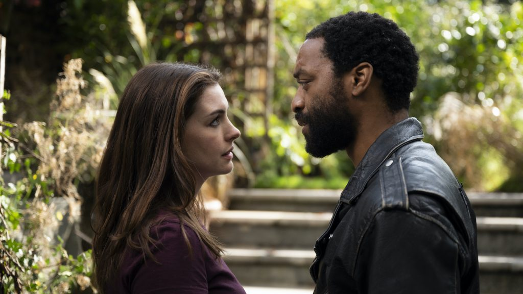 Anne Hathaway and Chiwetel Ejiofor in 'Search Party.' Photo by SUSIE ALLNUTT.