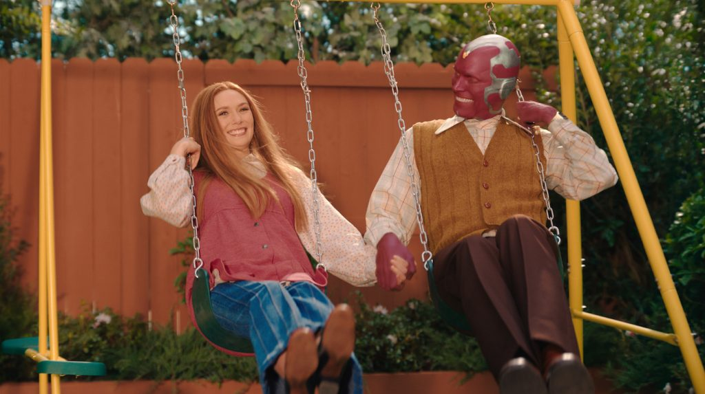 Elizabeth Olsen as Wanda and Paul Bettany as Vision in Marvel Studios' WandaVision. Courtesy Marvel Studios.