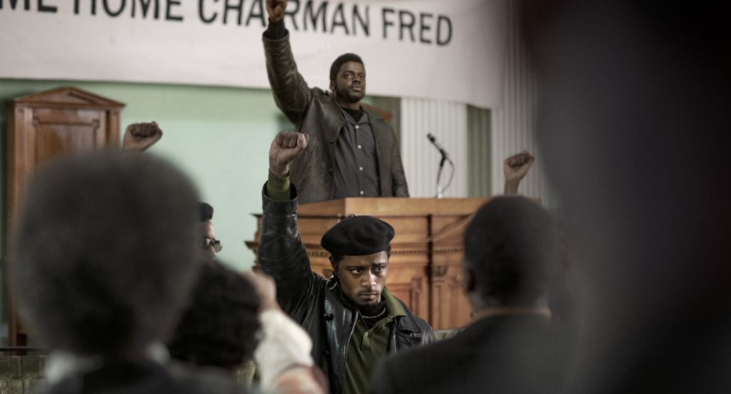"Caption: (Center front-back) LaKEITH STANFIELD as William O'Neal and DANIEL KALUUYA as Chairman Fred Hampton in Warner Bros. Pictures' ""JUDAS AND THE BLACK MESSIAH,"" a Warner Bros. Pictures release. Photo Credit: Glen Wilson"