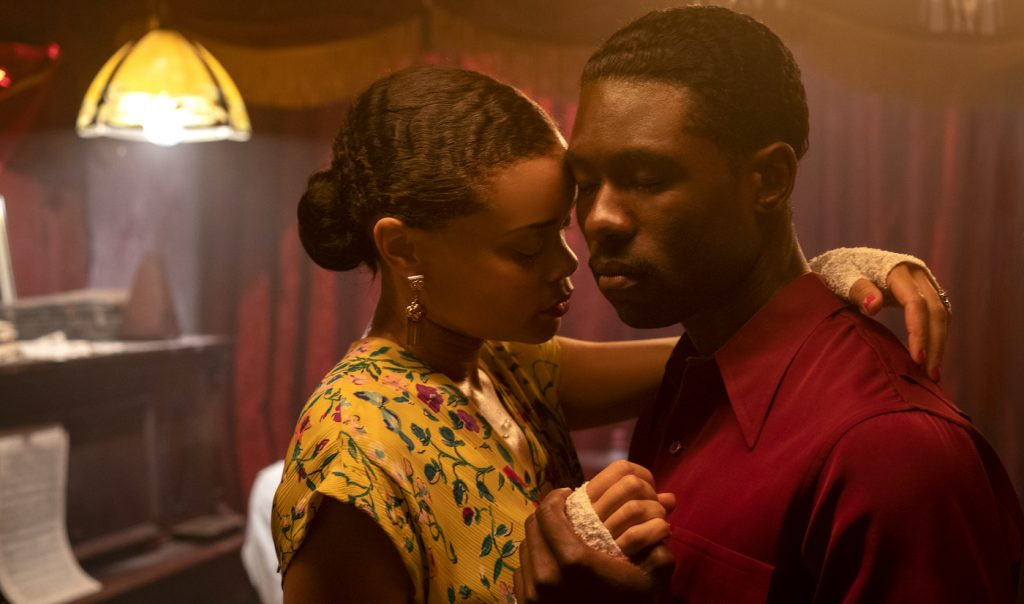 Andra Day and Trevante Rhodes in THE UNITED STATES VS. BILLIE HOLIDAY from Paramount Pictures. Photo Credit: Takashi Seida.
