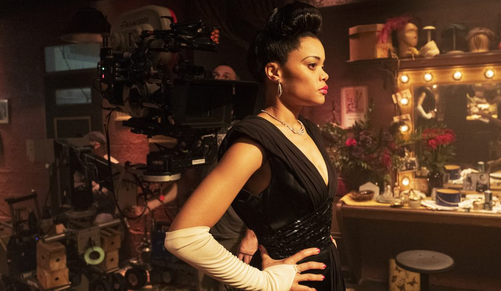 Andra Day on the set of THE UNITED STATES VS. BILLIE HOLIDAY from Paramount Pictures. Photo Credit: Takashi Seida.