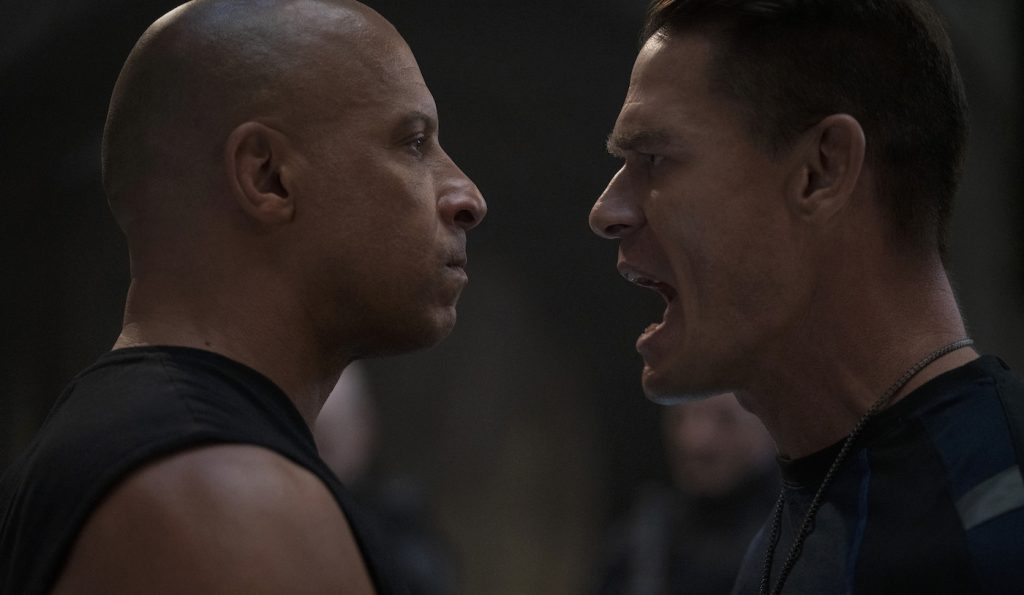 (from left) Dom (Vin Diesel) and Jakob (John Cena) in F9, directed by Justin Lin. Courtesy Universal Pictures.