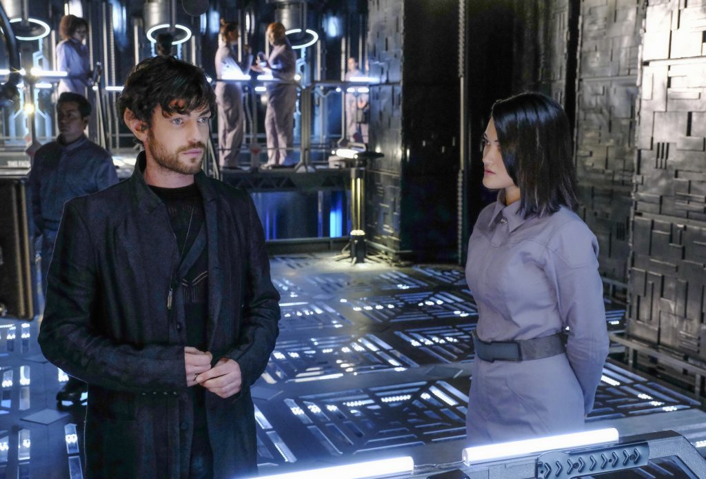 """""""Remembrance"""" -- Episode #101 -- Pictured (l-r): Harry Treadaway as Narek; Isa Briones as Soji of the CBS All Access series STAR TREK: PICARD. Photo Cr: Trae Patton/CBS ©2019 CBS Interactive, Inc. All Rights Reserved."""