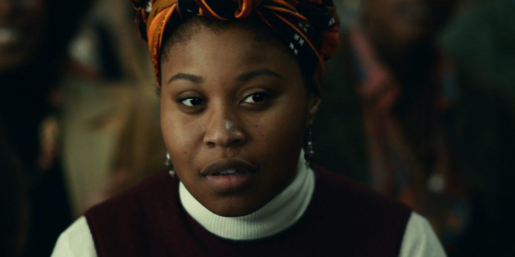 """DOMINIQUE FISHBACK as Deborah Johnson in Warner Bros. Pictures' """"JUDAS AND THE BLACK MESSIAH,"""" a Warner Bros. Pictures release. Photo courtesy of Warner Bros. Pictures"""