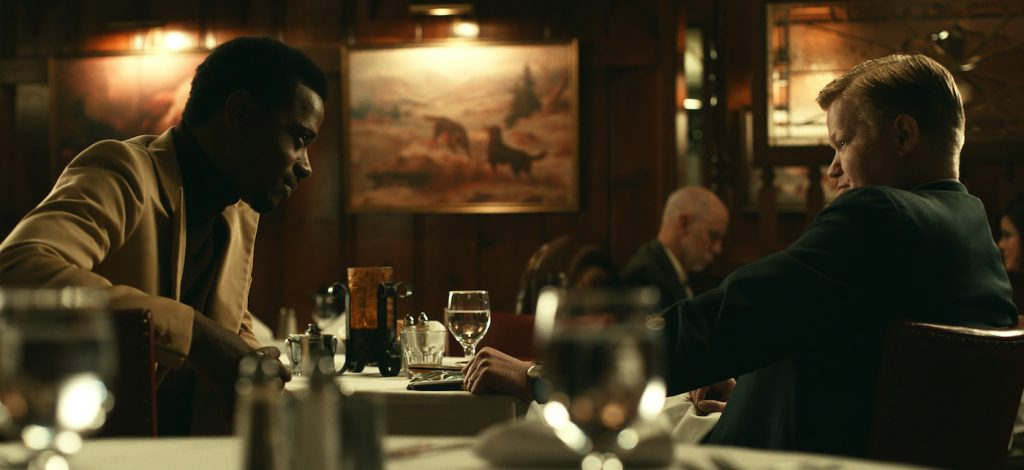 """(L-r) LAKEITH STANFIELD as Bill O'Neal and JESSE PLEMONS as Roy Mitchell in Warner Bros. Pictures' """"JUDAS AND THE BLACK MESSIAH,"""" a Warner Bros. Pictures release. Photo courtesy of Warner Bros. Pictures"""