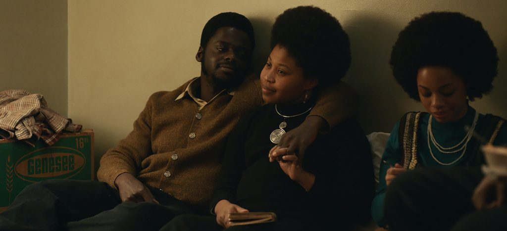 "(L-r) DANIEL KALUUYA as Chairman Fred Hampton and DOMINIQUE FISHBACK as Deborah Johnson in Warner Bros. Pictures' ""JUDAS AND THE BLACK MESSIAH,"" a Warner Bros. Pictures release. Photo courtesy of Warner Bros. Pictures"