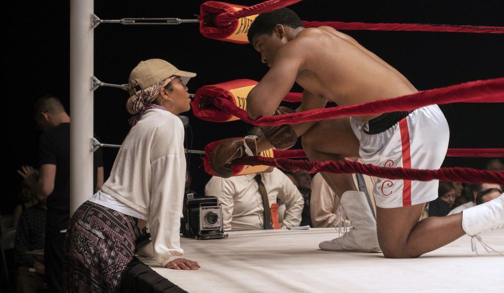 Director Regina King with Eli Goree on the set of ONE NIGHT IN MIAMI. Photo: Patti Perret/Amazon Studios