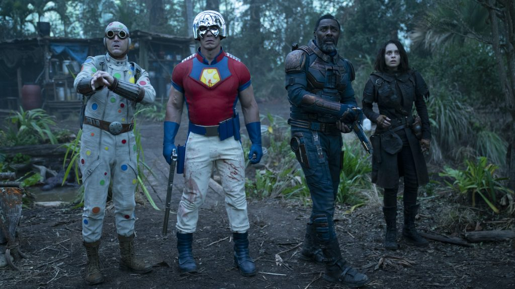 "Caption: (L-r) DAVID DASTMALCHIAN as Polka Dot Man, JOHN CENA as Peacemaker, IDRIS ELBA as Bloodsport and DANIELA MELCHIOR as Ratcatcher 2 in Warner Bros. Pictures' action adventure ""THE SUICIDE SQUAD,"" a Warner Bros. Pictures release. Photo Credit: Jessica Miglio/™ & © DC Comics"