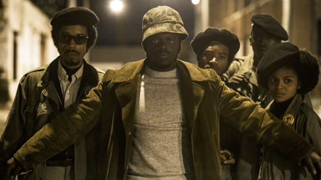 """Caption: (L-r) DARRELL BRITT-GIBSON as Bobby Rush, DANIEL KALUUYA as Chairman Fred Hampton, ALGEE SMITH as Jake Winters, ASHTON SANDERS as Jimmy Palmer and DOMINIQUE THORNE as Judy Harmon in Warner Bros. Pictures' """"JUDAS AND THE BLACK MESSIAH,"""" a Warner Bros. Pictures release. Photo Credit: Glen Wilson"""