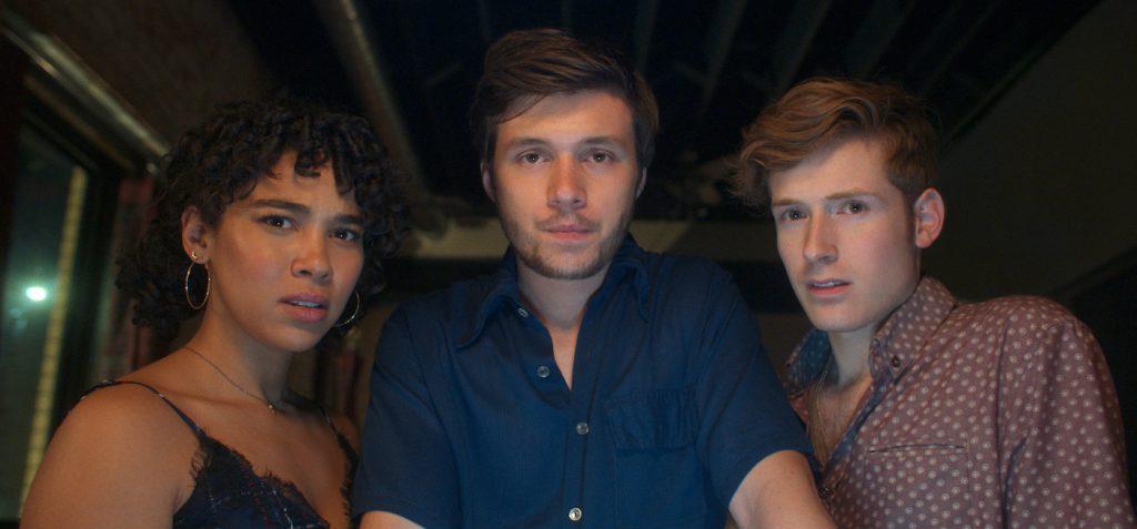 Alexandra Shipp as Julia, Nick Robinson as Ross Ulbricht, and Daniel David Stewart as Max in Silk Road. Photo Credit: Courtesy of Lionsgate