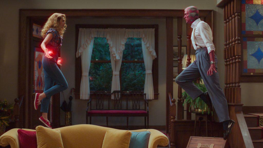 L-r: Elizabeth Olsen is Wanda and Paul Bettany is Vision in