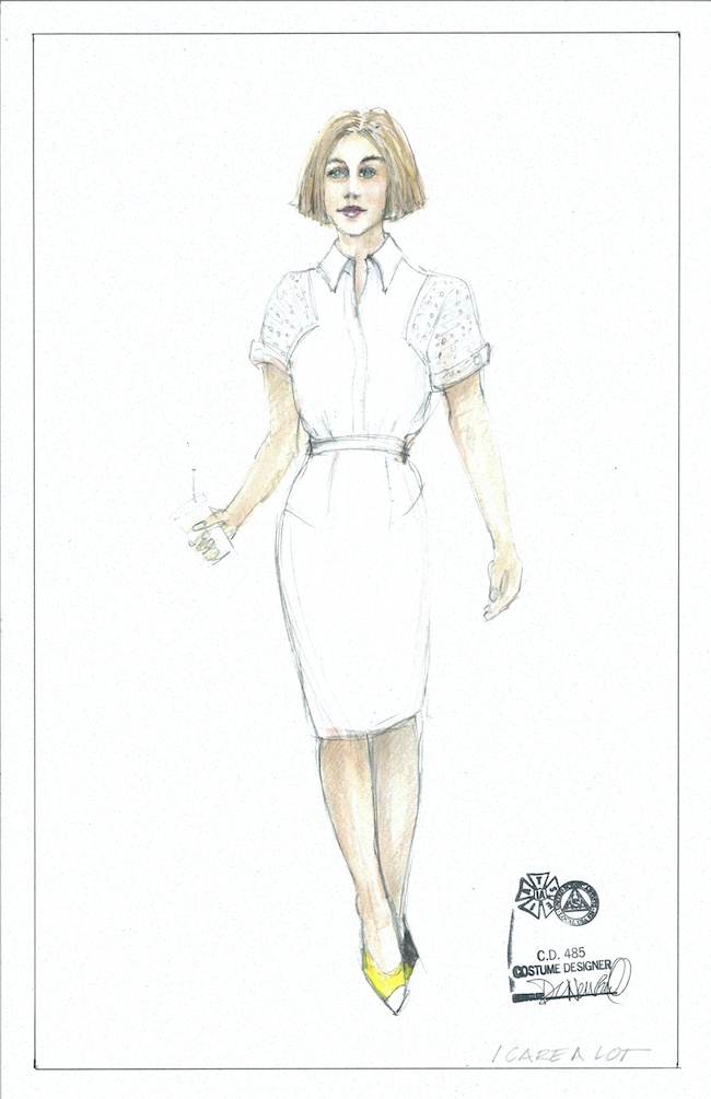 Deborah Newhall's sketch for Marla's white suit. Courtesy Deb Newhall.