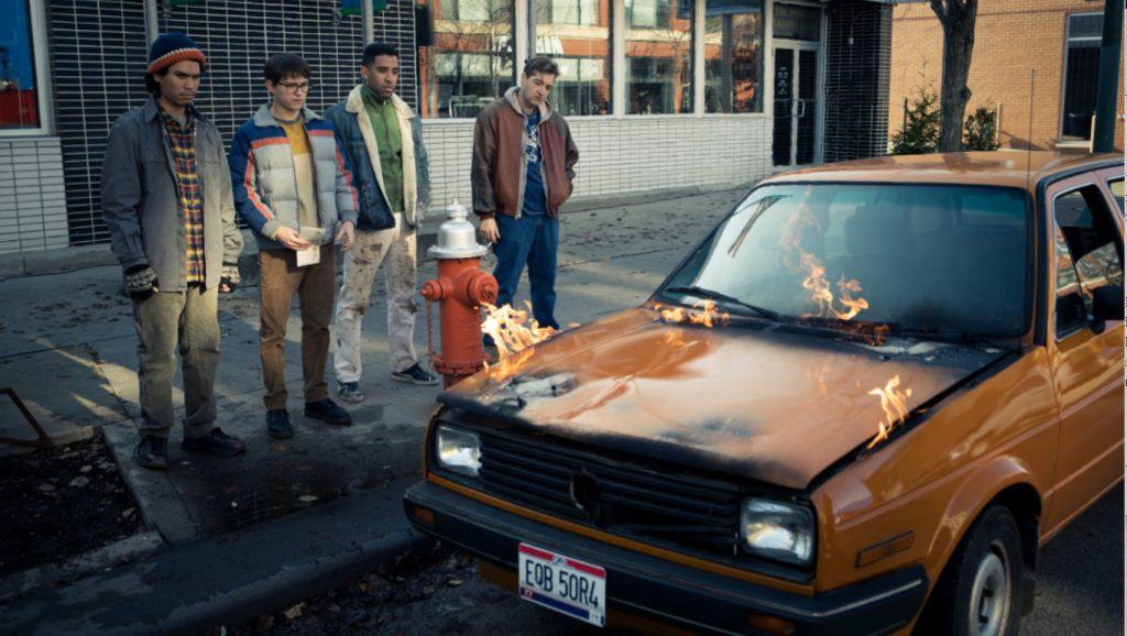"L-r: Forrest Goodluck, Tom Holland, Kyle Harvey and Michael Gandolfini in ""Cherry,"" premiering globally March 12, 2021 on Apple TV+."