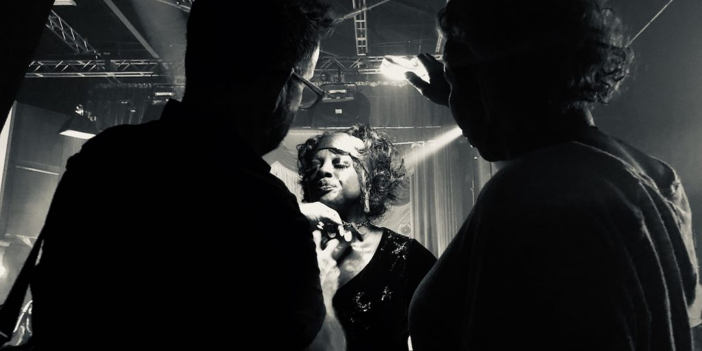 Viola Davis getting a touch-up on set. Courtesy Sergio Lopez-Rivera/Netflix.