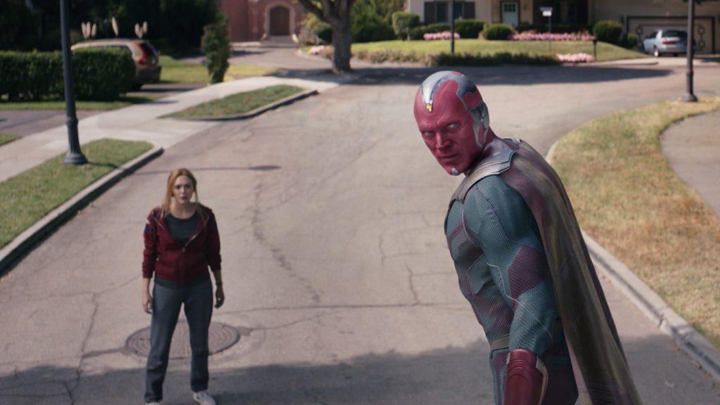 Elizabeth Olsen as Wanda and Paul Bettany as Vision in Marvel Studios' WandaVision. Courtesy Marvel Studios.