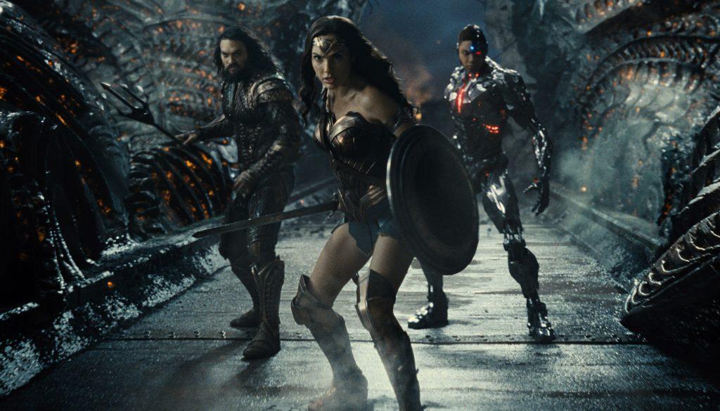 Jason Momoa (Aquaman / Arthur Curry), Gal Gadot (Diana Prince / Wonder Woman), Ray Fisher (Cyborg / Victor Stone). Courtesy HBO.