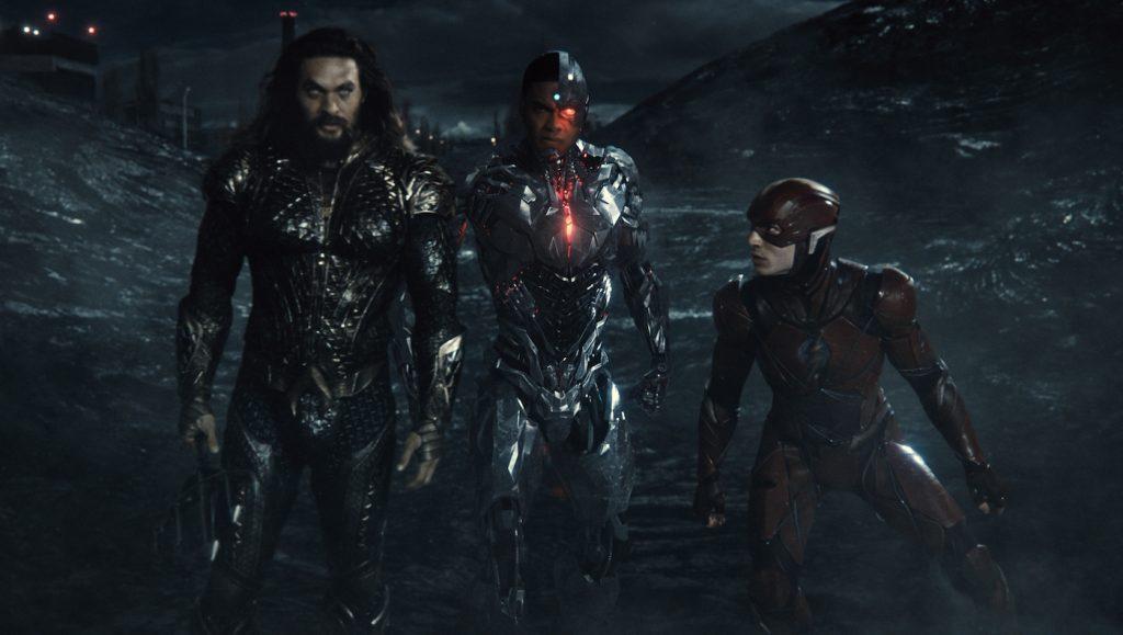 Jason Momoa (Aquaman / Arthur Curry), Ray Fisher (Cyborg / Victor Stone), Ezra Miller (The Flash / Barry Allen). Courtesy HBO.