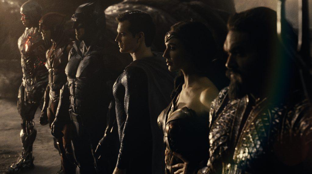 Ray Fisher (Cyborg / Victor Stone), Ezra Miller (The Flash / Barry Allen), Ben Affleck (Batman / Bruce Wayne), Henry Cavill (Superman / Clark Kent), Gal Gadot (Diana Prince / Wonder Woman), Jason Momoa (Aquaman / Arthur Curry). Courtesy HBO Max.
