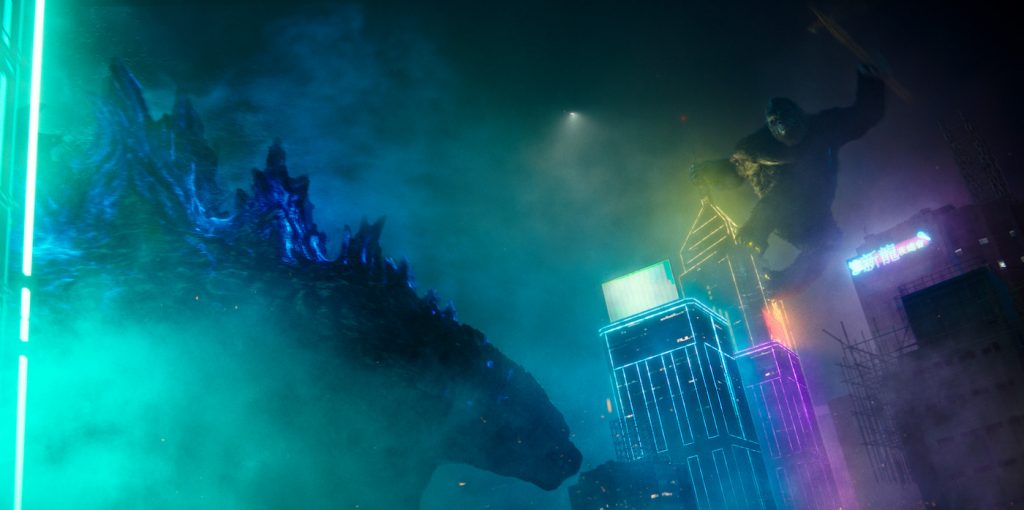 """Caption: (L-r) GODZILLA and KONG in Warner Bros. Pictures' and Legendary Pictures' action adventure """"GODZILLA VS. KONG,"""" a Warner Bros. Pictures and Legendary Pictures release. Photo Credit: Courtesy of Warner Bros. Pictures and Legendary Pictures"""