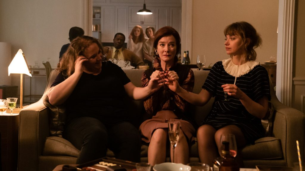 Left to Right: (Front): Danielle Macdonald as Madeleine, Valerie Mahaffey as Mme Reynard, Imogen Poots as Susan (Middle): Daniel Di Tomasso as Tom, Isaach de Bankolé as Julius (Back): Michelle Pfeiffer as Frances Price Susan Coyne as Joan in FRENCH EXIT. Photo by Lou Scamble. Courtesy of Sony Pictures Classics.