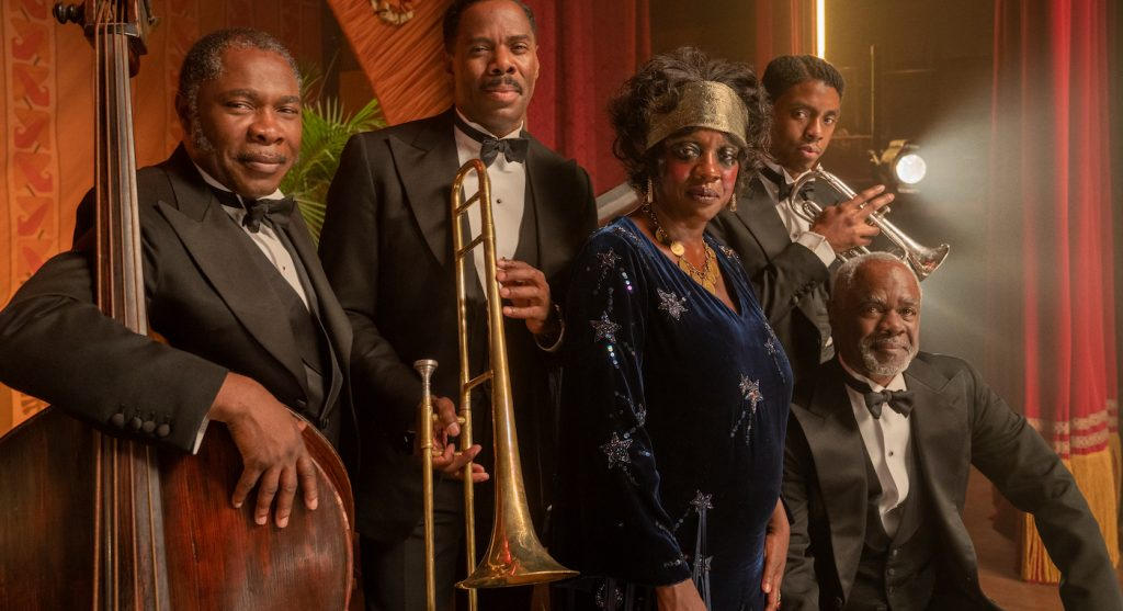 MA RAINEY'S BLACK BOTTOM(2020) Michael Potts as Slow Drag, Colman Domingo as Cutler, Viola Davis as Ma Rainey, Chadwick Boseman as Levee and Glynn Turman as Toledo.  Cr. David Lee/NETFLIX