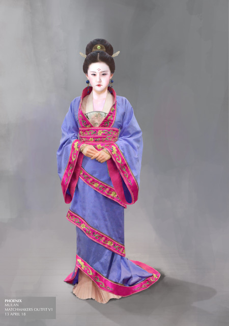 The design for Mulan's dress at the matchmakers. Courtesy Bina Daigeler/Walt Disney Studios
