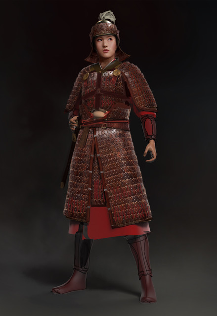 The design for Mulan's armor, with red accents. Courtesy Bina Daigeler/Walt Disney Studios