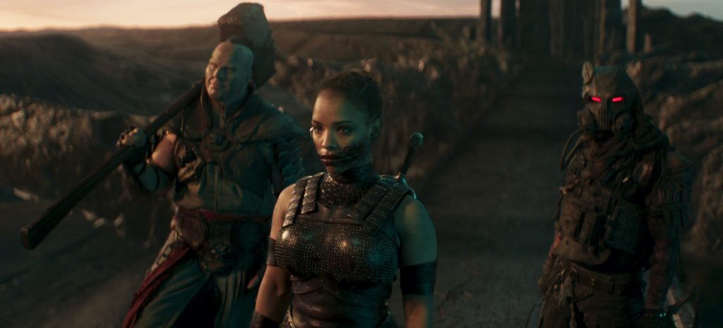 "Caption: (L-r) NATHAN JONES as Reiko, SISI STRINGER as Mileena and DANIEL NELSON as Kabal in New Line Cinema's action adventure ""Mortal Kombat,"" a Warner Bros. Pictures release. Photo Credit: Courtesy Warner Bros. Pictures"
