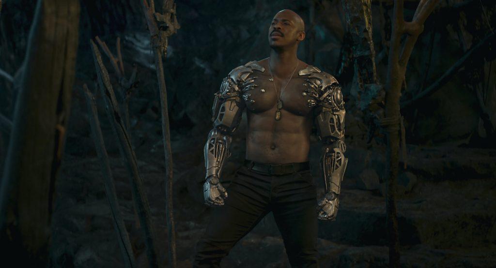 "Caption: MEHCAD BROOKS as Major Jackson ""Jax"" Briggs in New Line Cinema's action adventure ""Mortal Kombat,"" a Warner Bros. Pictures release. Photo Credit: Courtesy Warner Bros. Pictures"