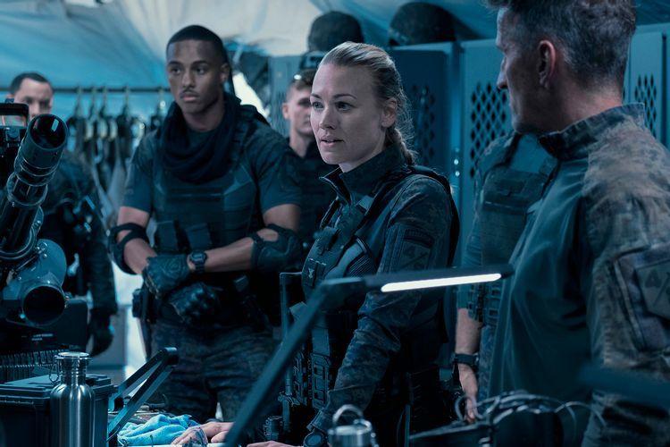 "Yvonne Strahovski is Romeo Command in ""The Tomorrow War."" Courtesy Amazon Studios"