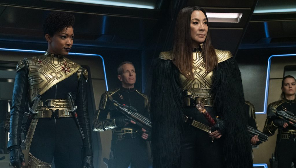 """""""Terra Firma, Part 2"""" — Ep#310 — Pictured: Sonequa Martin-Green as Commander Burnham and Michelle Yeoh as Georgiou of the CBS All Access series STAR TREK: DISCOVERY. Photo Cr: Michael Gibson/CBS ©2020 CBS Interactive, Inc. All Rights Reserved."""