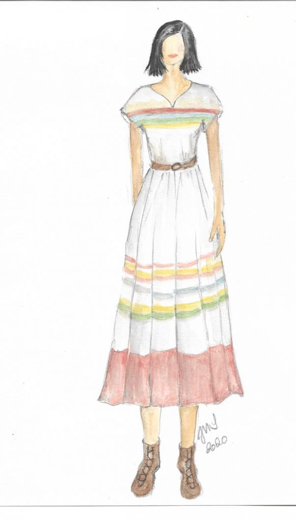 Sketch of Dina's hacienda dinner outfit. Courtesy Justine Seymour/Apple +