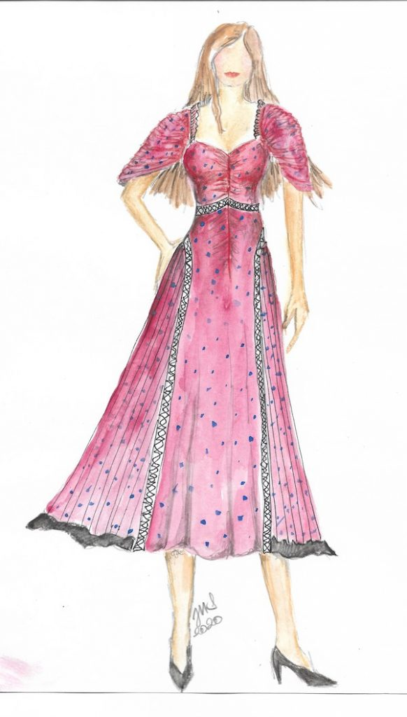 Sketch of Margot's hacienda dinner outfit. Courtesy Justine Seymour/Apple +
