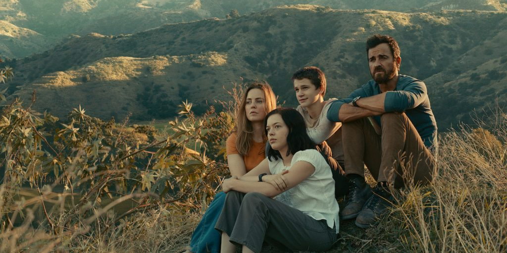 """Justin Theroux, Melissa George, Logan Polish and Gabriel Bateman in """"The Mosquito Coast,"""" now streaming on Apple TV+."""