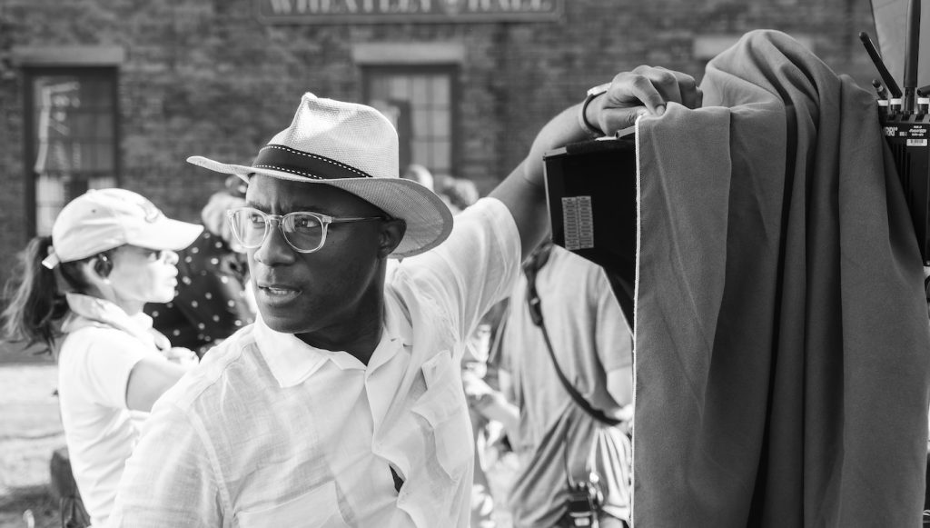 "Barry Jenkins directing ""The Underground Railroad."" Photo by Kyle Kaplan. Courtesy Amazon Studios."